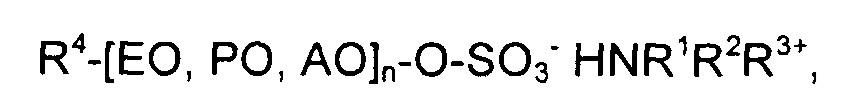 Высококонцентрированные безводные аминные соли углеводородполиалкоксисульфатов, применение и способ применения их водных растворов