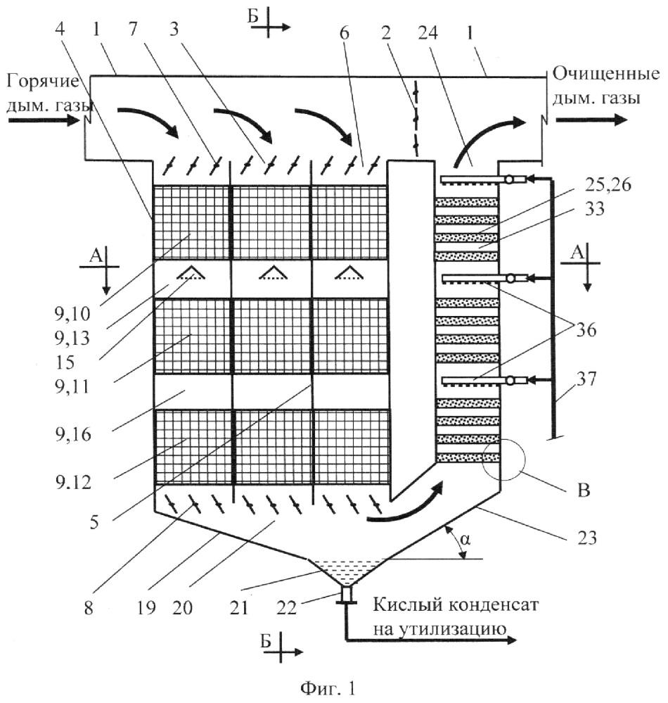 Коррозионноустойчивая шахтная мультиблочная установка для очистки и утилизации дымовых газов