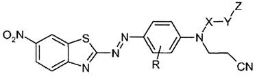 Бензотиазол-2-илазо-фенил соединение как краситель, композиции, включающие краситель, и способ определения степени отверждения таких композиций