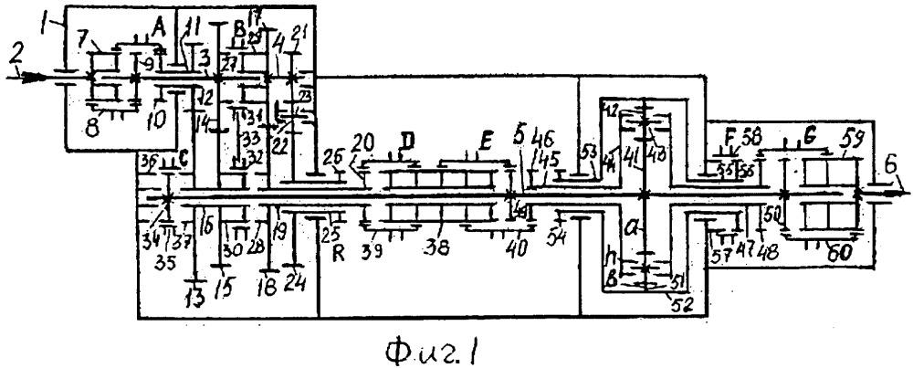 Реверсивная (20r20) несоосная 24-х ступенчатая вально-планетарная коробка передач типа 24r28