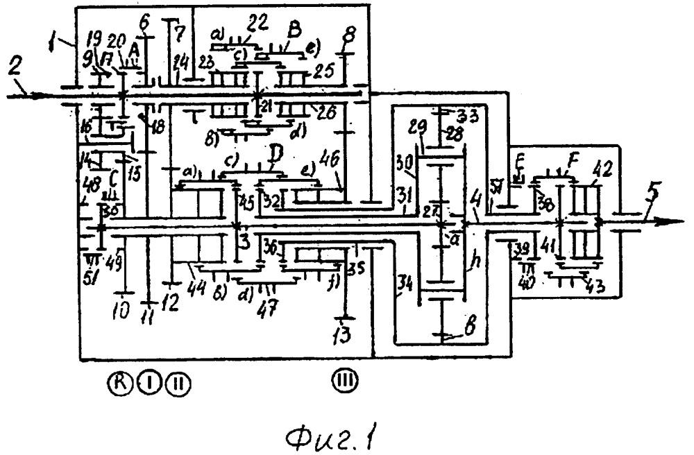 Несоосная 24-х ступенчатая вально-планетарная коробка передач