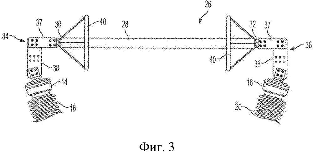 Баковый выключатель с импульсным разрядником, соединенным через изоляционные втулки каждого полюса