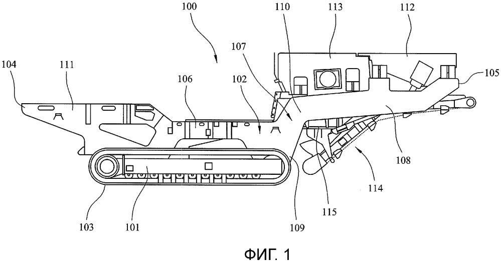 Передвижное устройство обработки насыпного материала c поворачивающимся транспортером