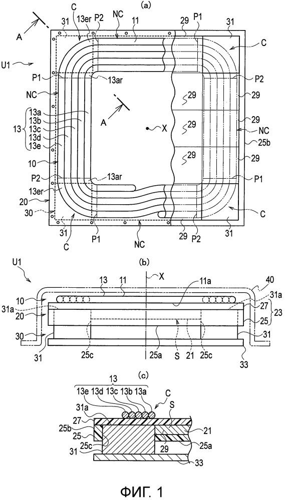 Блок катушки для бесконтактной передачи электрической мощности.