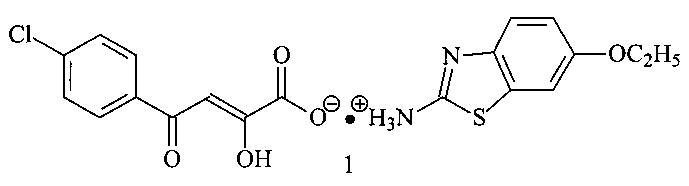 2-гидрокси-4-оксо-4-(4-хлорфенил)-2-бутеноат 2-[(6-этокси)бензо[d]-тиазолил]аммония, обладающий антигельминтным и инсектицидным действием
