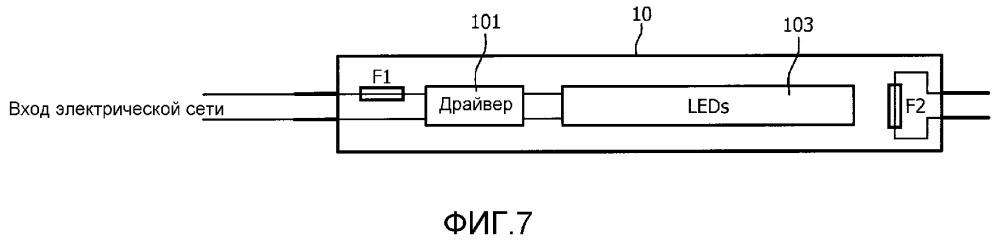 Светодиодная лампа, содержащая предохранительный модуль для безопасной работы с различными балластами