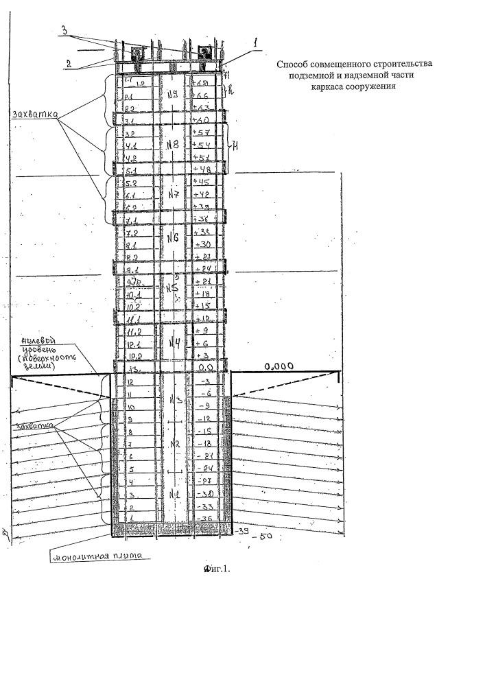 Способ совмещенного строительства подземной и надземной части каркаса сооружения