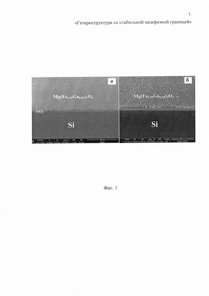 Способ получения гетероструктуры mg(fe1-xgax)2o4/si со стабильной межфазной границей