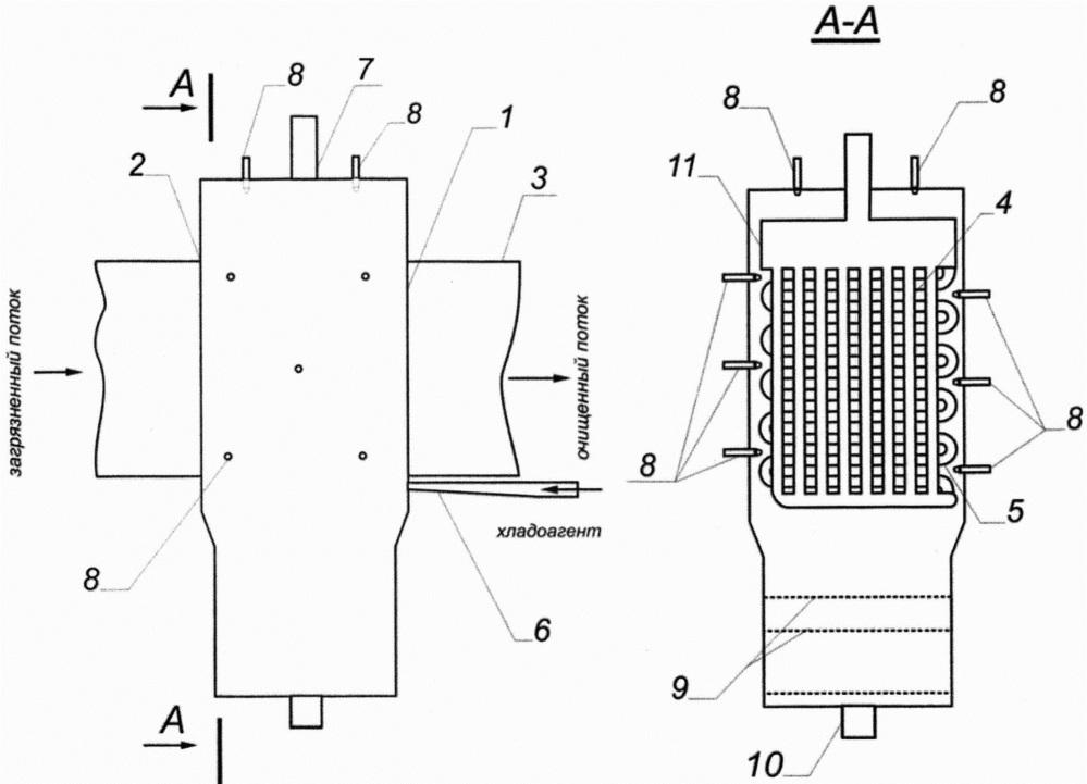 Искрогаситель, пламегаситель, конденсатор с форсунками для регенерации (ипк 1.1)