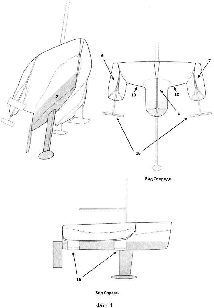 Стабилизированный корпус однокорпусного килевого парусного/парусно-моторного судна с подводными крыльями