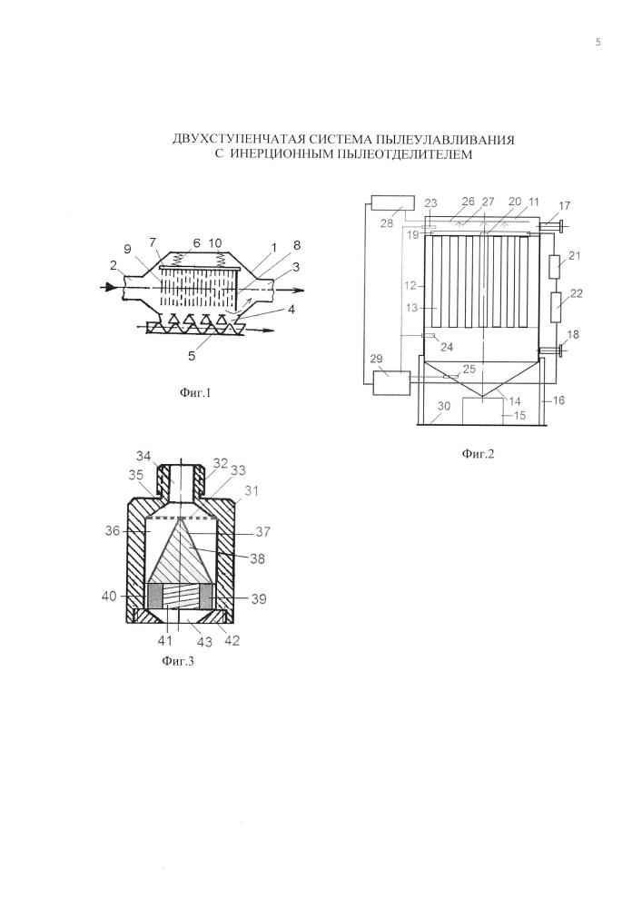 Двухступенчатая система пылеулавливания с инерционным пылеотделителем