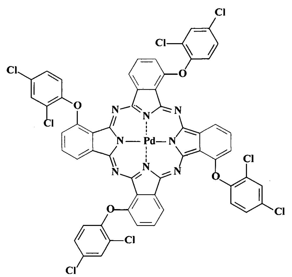 Тетра-4-[4-(2,4,5-трихлор-3,6-дисульфофенокси)]-фталоцианины меди и кобальта