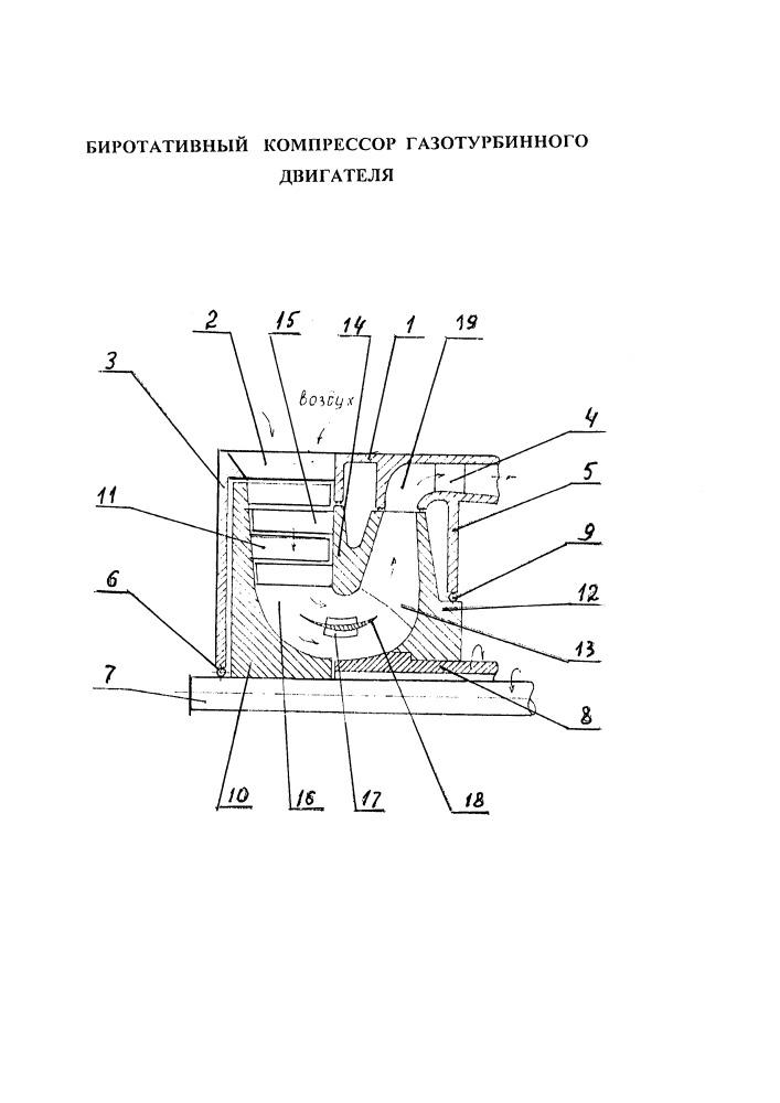 Биротативный компрессор газотурбинного двигателя