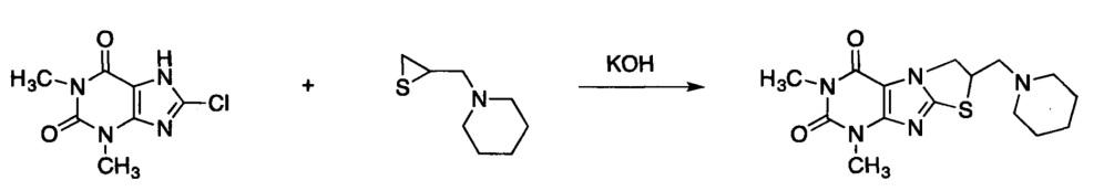 Способ получения 1,3-диметил-7-(пиперидин-1-илметил)-6,7-дигидротиазоло[3,2-f]пурин-2,4(1н,3н)-диона