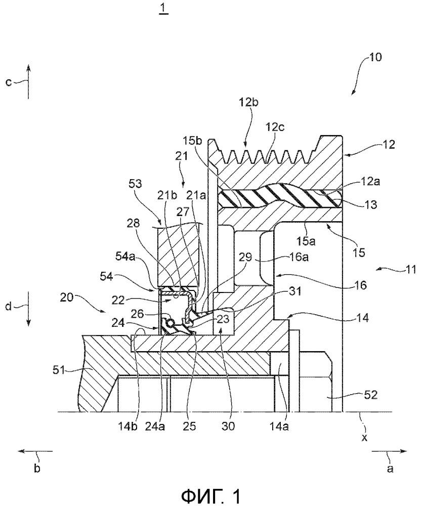 Уплотнительная конструкция с демпфером крутильных колебаний и масляным уплотнением