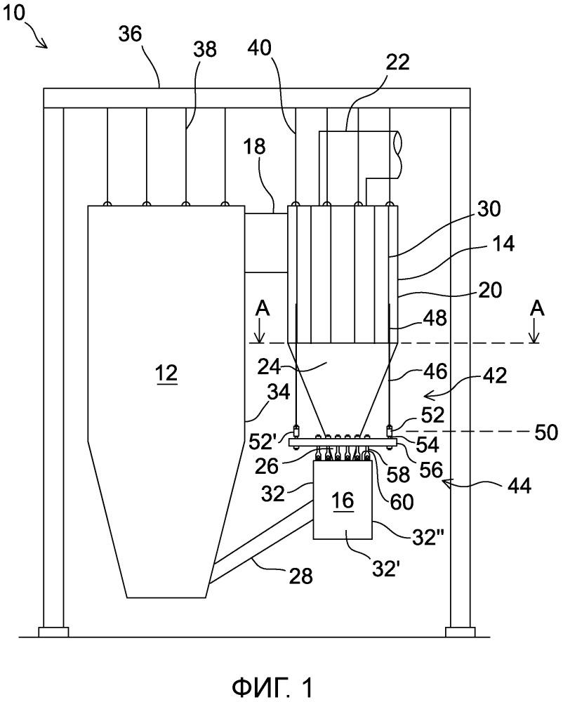 Узел из сепараторного модуля для частиц и теплообменного камерного модуля, способ его установки и снабженный им котел с циркулирующим псевдоожиженным слоем