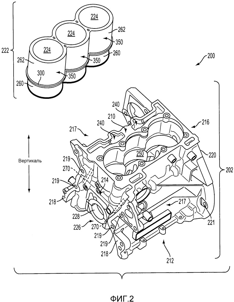 Двигатель (варианты) и литой узел блока цилиндров