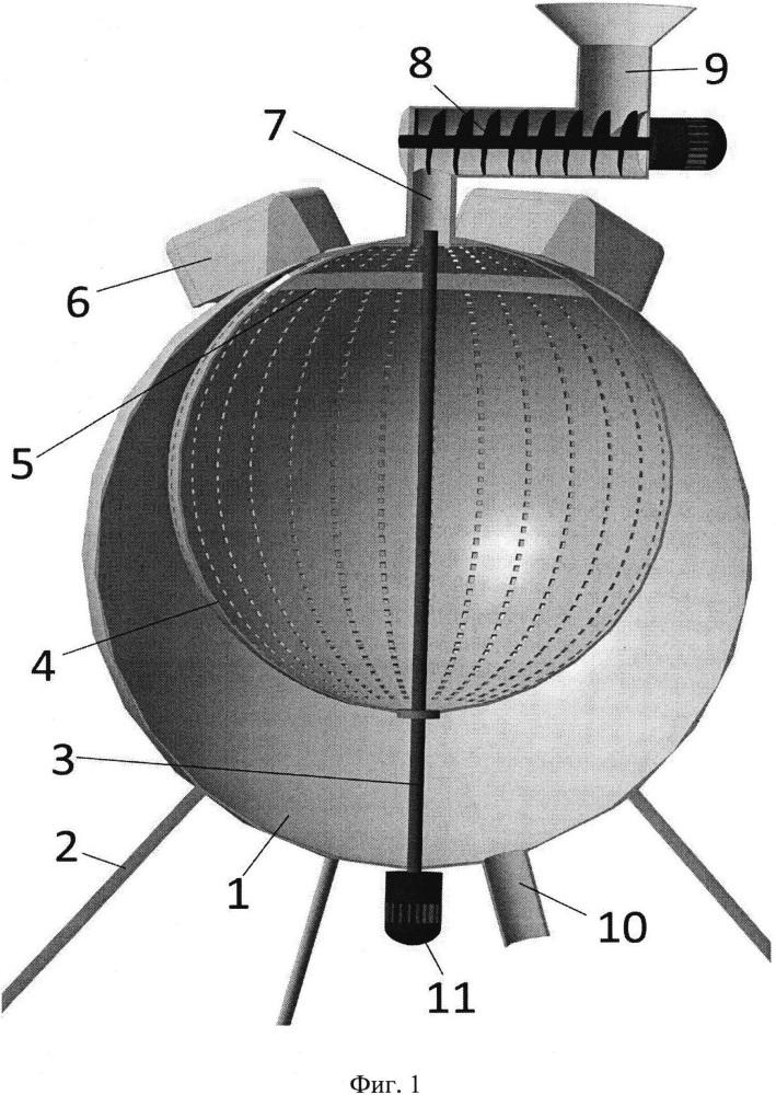 Сверхвысокочастотная установка со сферическим резонатором для термообработки сырья животного происхождения в непрерывном режиме
