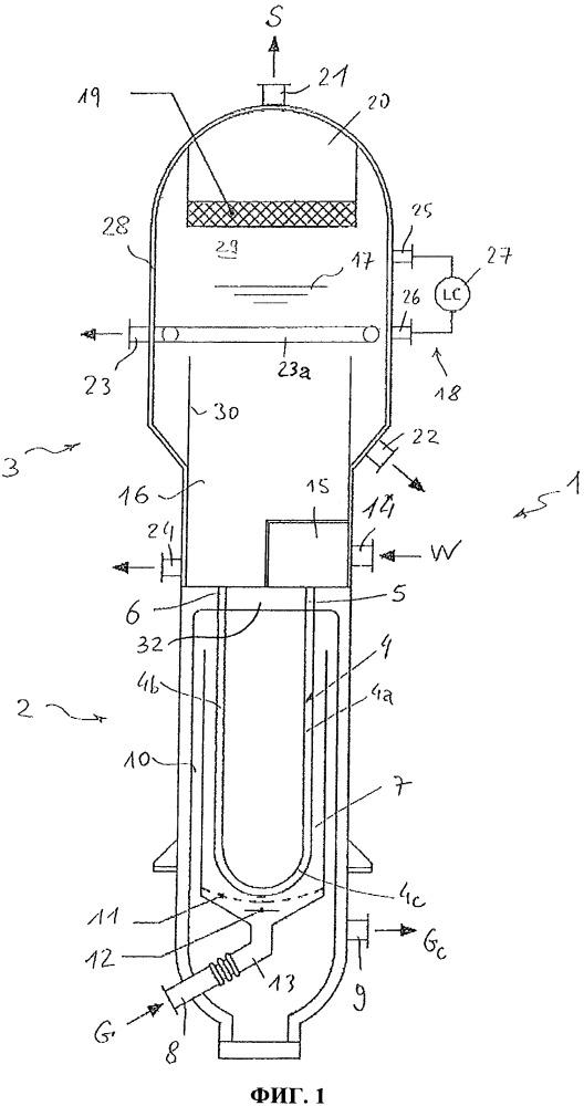 Кожухотрубное устройство для рекуперации тепла из горячего технологического потока