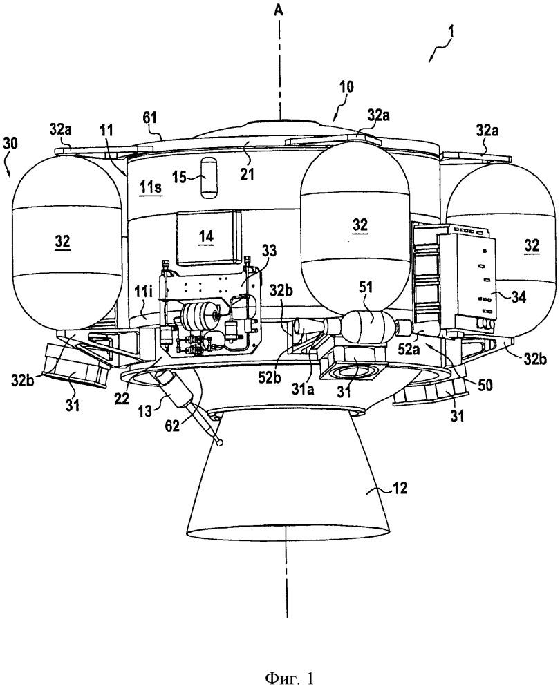Космический двигательный модуль с электрическими и твердотопливными химическими двигателями