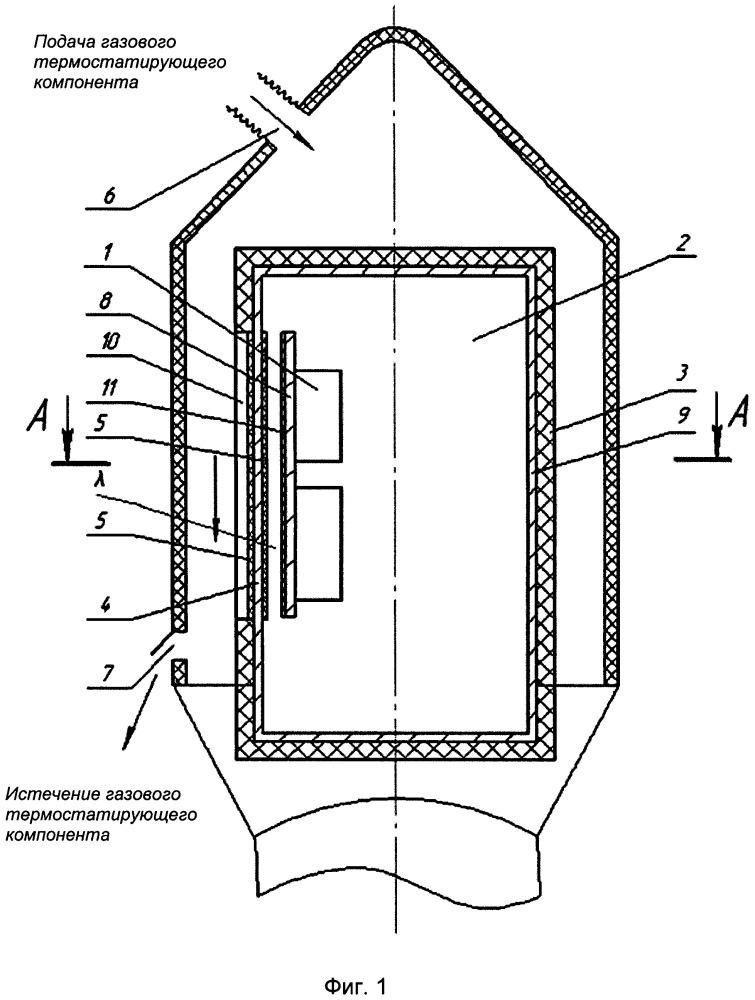 Устройство термостатирования бортовой аппаратуры полезного груза в составе космической головной части