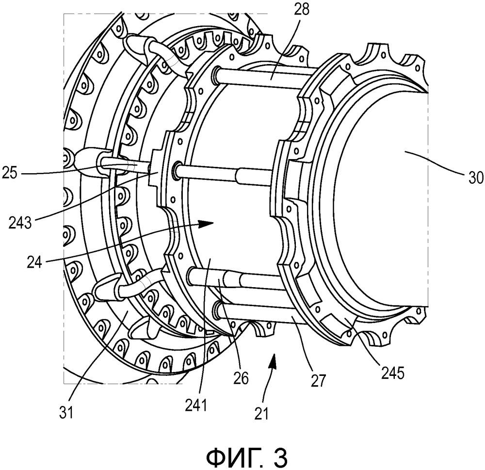 Устройство питания домкрата гидравлической текучей средой и механизм управления шагом лопастей винта газотурбинного двигателя, содержащий домкрат