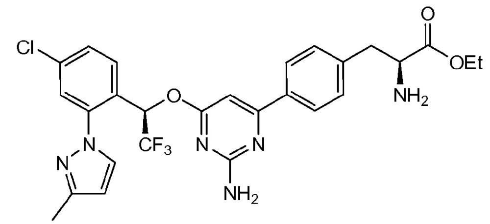 Твердые дозированные формы (s)-этил 2-амино-3-(4-(2-амино-6((r)-1-(4-хлор-2-(3-метил-1н-пиразол-1-ил)фенил)-2,2,2-трифторэтокси)пиримидин-4-ил)фенил)пропаноата