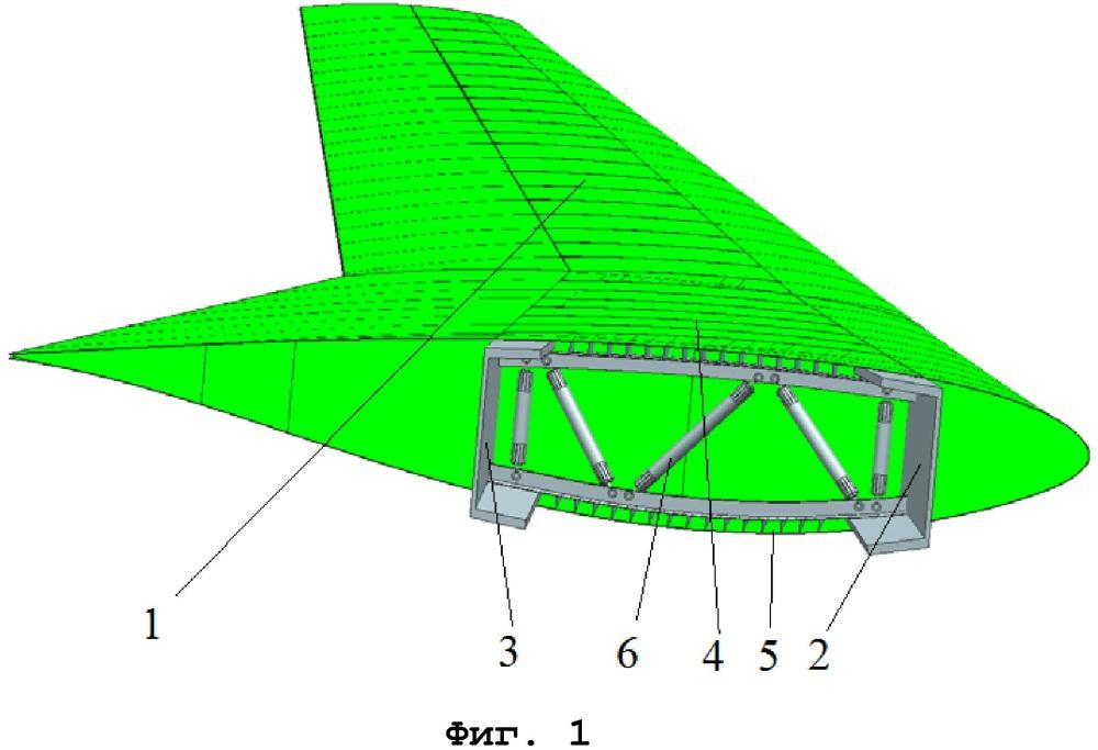 Ферменная нервюра крыла с композиционными стойками