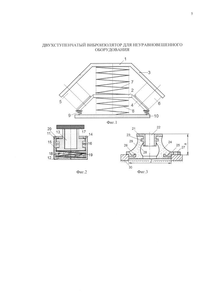 Двухступенчатый виброизолятор для неуравновешенного оборудования