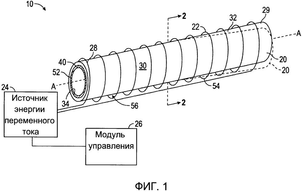 Интеллектуальный токоприемник для системы индукционного нагрева исполнительного устройства из сплава с памятью формы