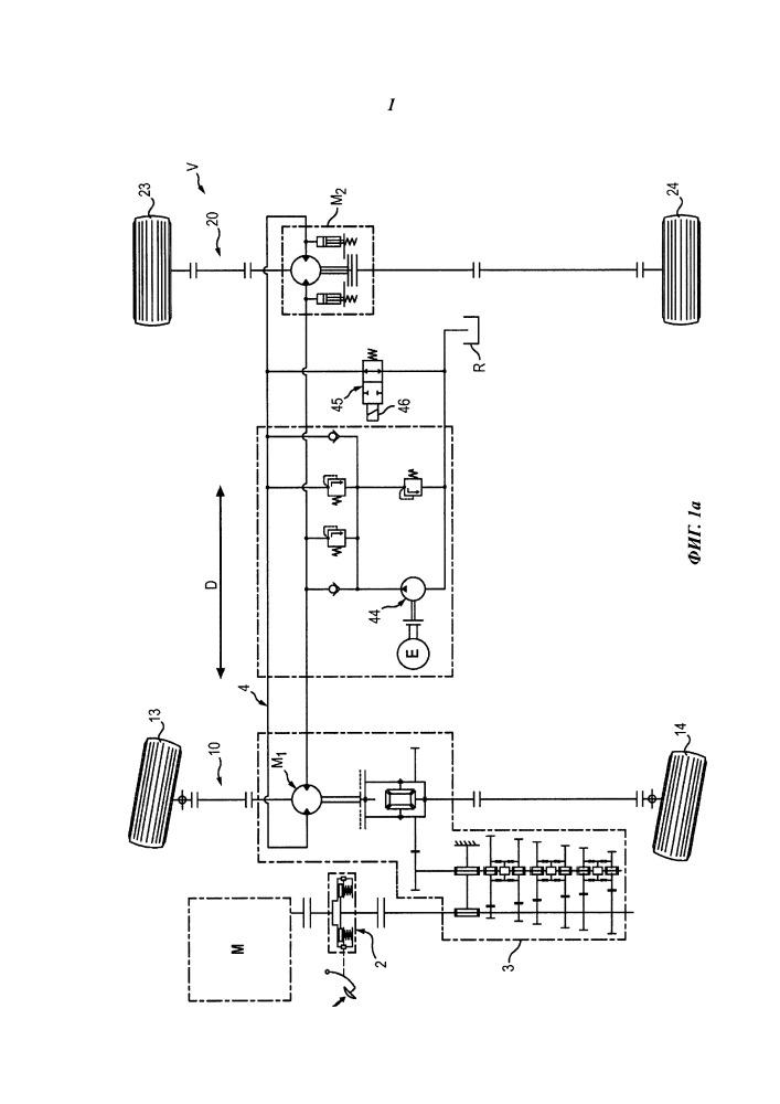 Транспортное средство с гидростатической трансмиссией, содержащей муфту, выполняющую функцию дифференциала