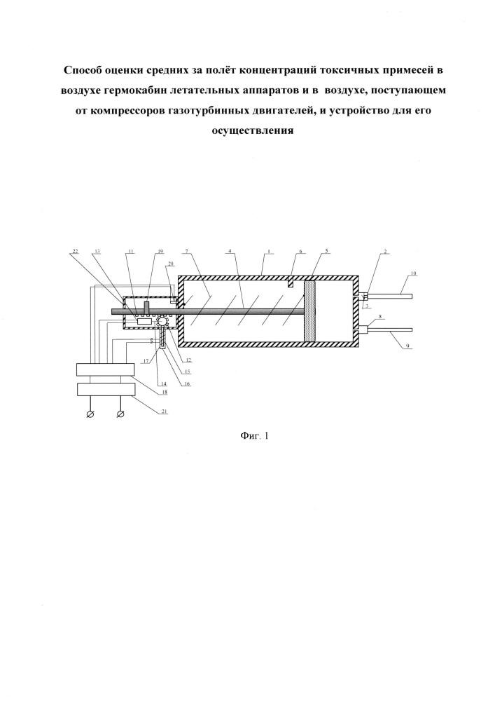 Способ оценки средних за полёт концентраций токсичных примесей в воздухе гермокабин летательных аппаратов и в воздухе, поступающем от компрессоров газотурбинных двигателей, и устройство для его осуществления