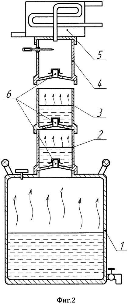 Дистиллятор с установленными друг над другом сухопарниками