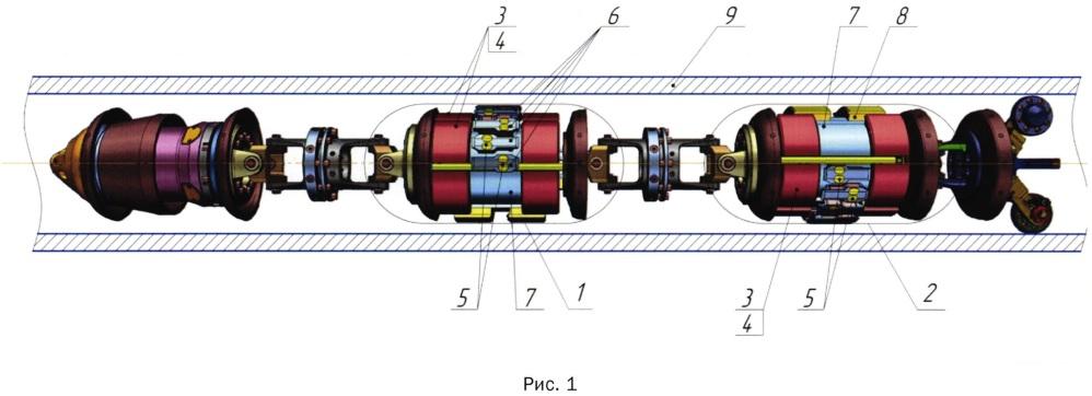 Магнитная система продольного намагничивания дефектоскопа для диагностики толстостенных трубопроводов малого диаметра