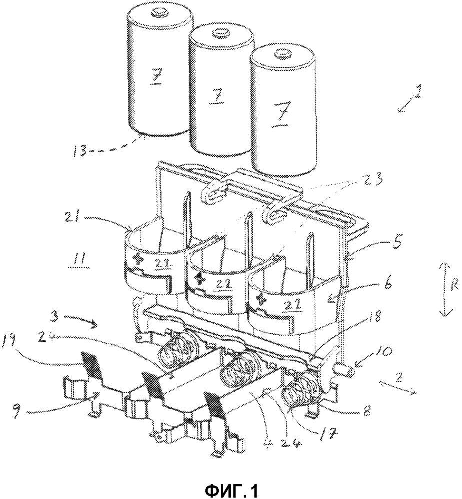 Отделение для батарей, дозирующий узел с электрическим приводом и дозатор