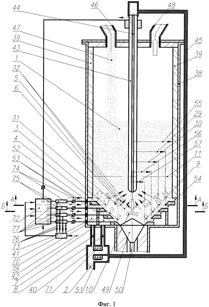 Способ электротермической переработки дисперсного материала в псевдоожиженном слое и устройство для его осуществления