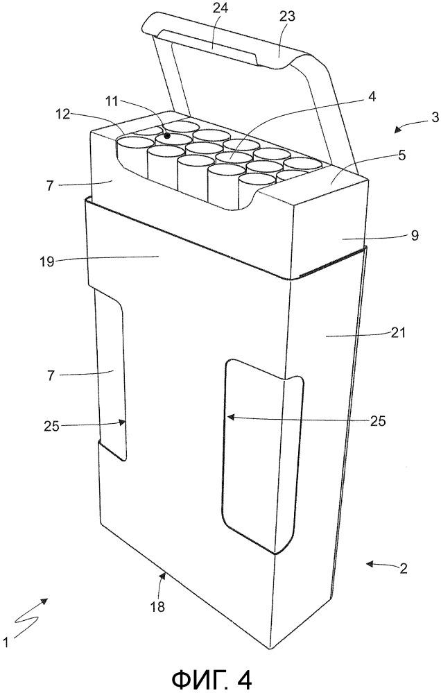 Выдвижная сигаретная пачка с повторно закрываемой адгезивной панелью