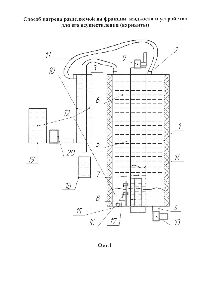 Способ нагрева разделяемой на фракции жидкости и устройство для его осуществления (варианты)