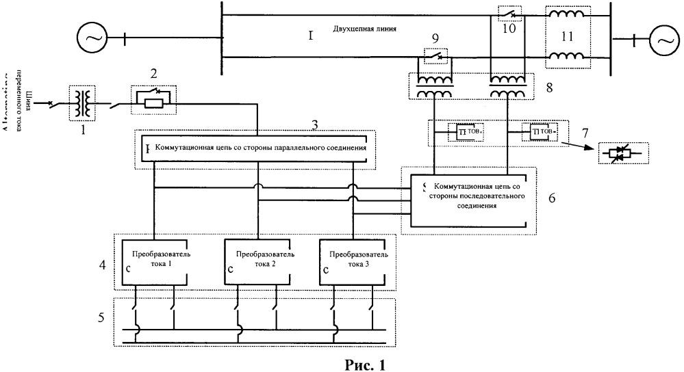 Устройство комплексного регулирования перетоков мощности для двухцепной линии