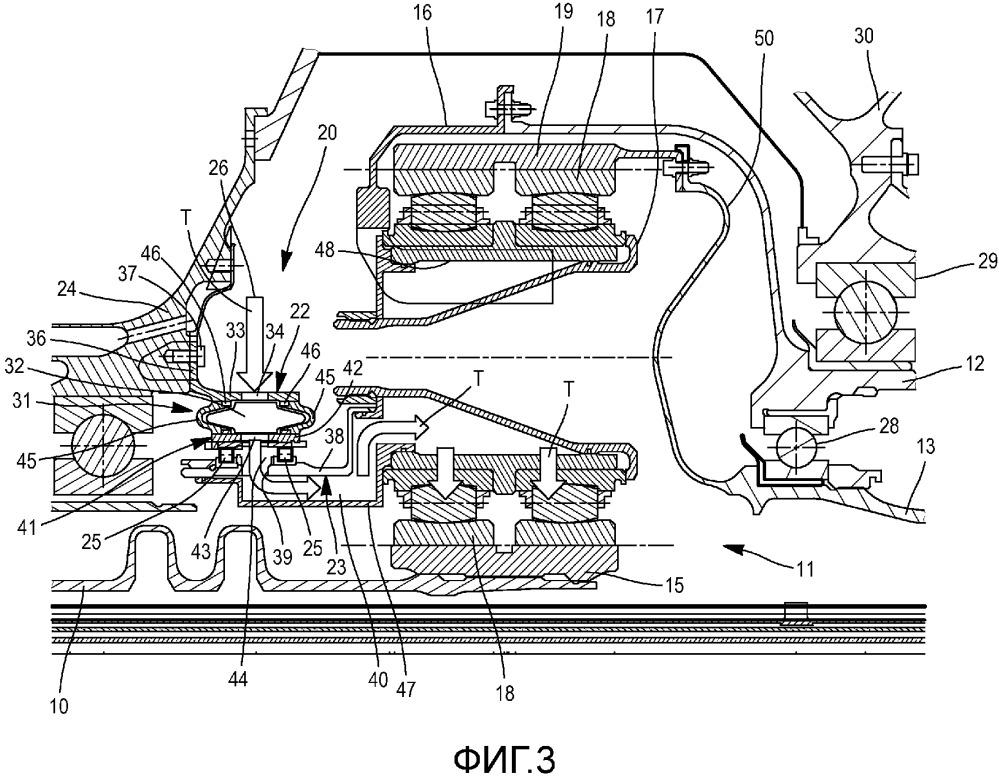 Устройство маслопередачи между двумя системами координат, вращающимися относительно друг друга, и газотурбинный двигатель с винтами для летательного аппарата, содержащий такое устройство