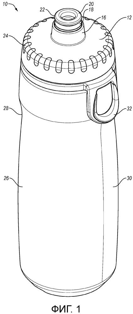 Контейнер для выдачи жидкости с многопозиционным клапаном и трубочкой для питья