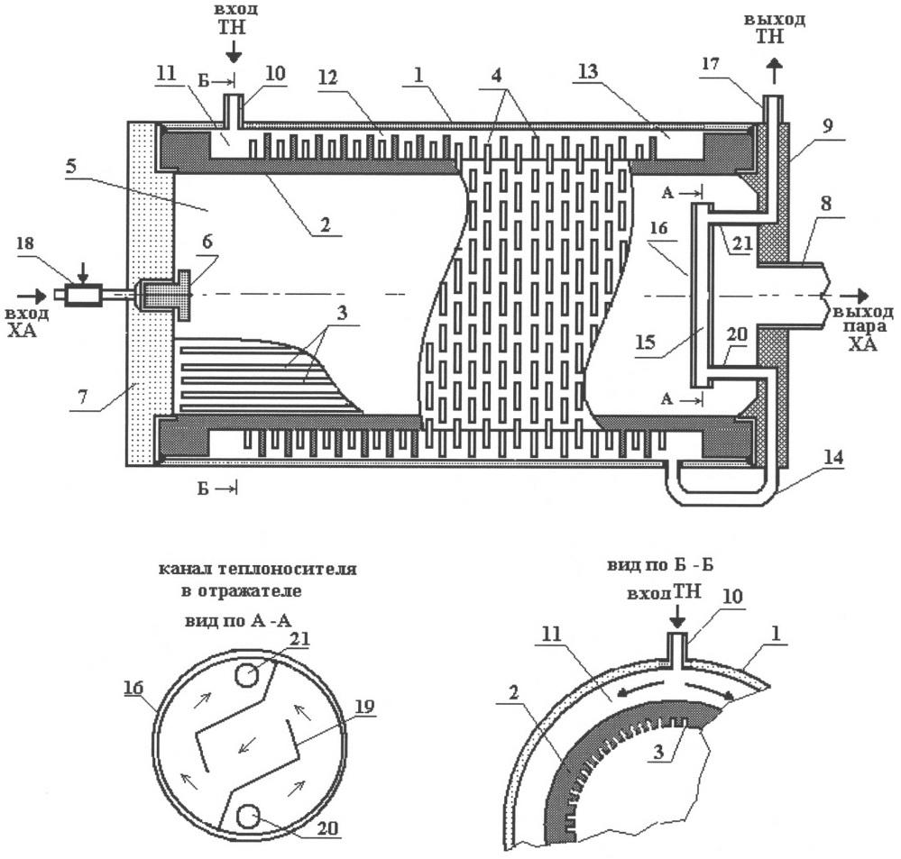 Испаритель для системы терморегулирования космического аппарата