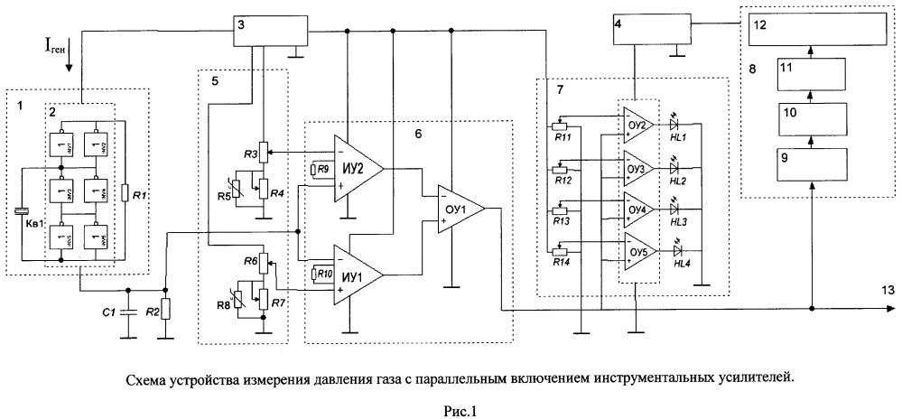 Устройство измерения давления газа