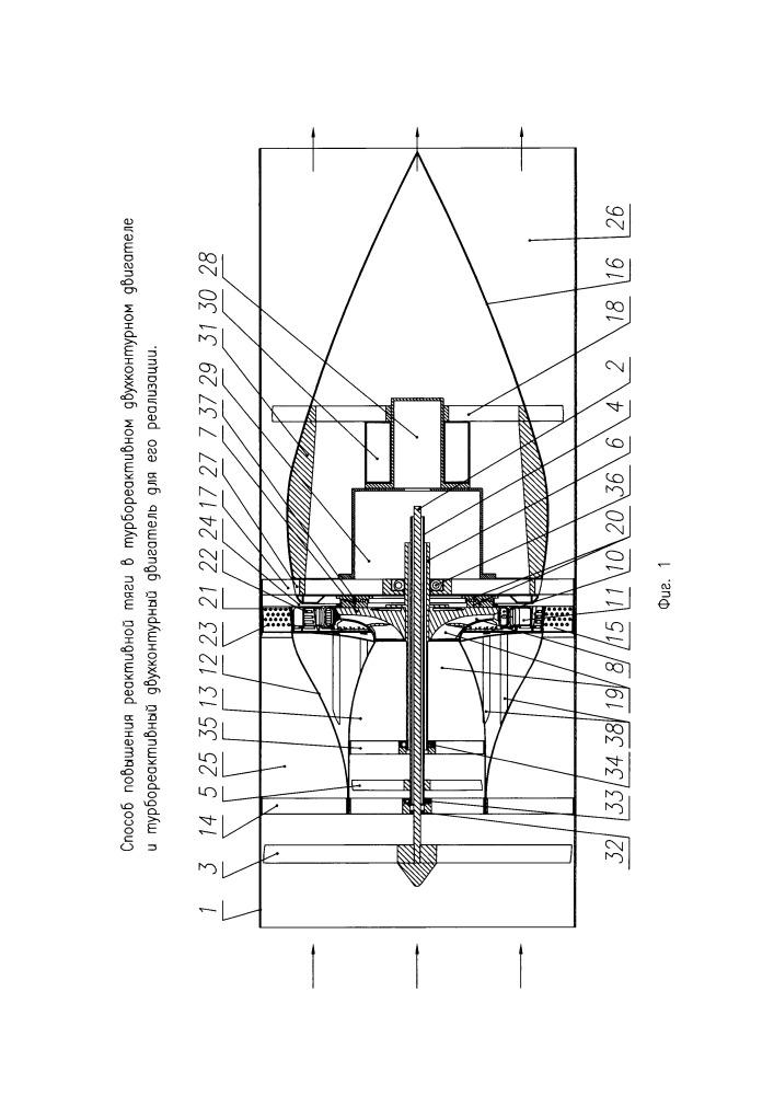 Способ повышения реактивной тяги в турбореактивном двухконтурном двигателе и турбореактивный двухконтурный двигатель для его реализации