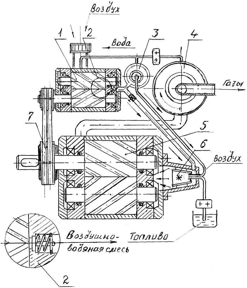 Паровоздушный прямоточный роторно-компрессорный двигатель внутреннего сгорания