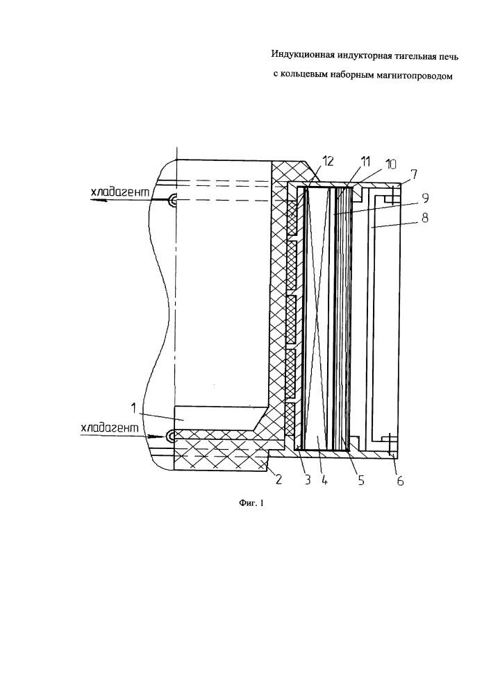 Индукционная индукторная тигельная печь с кольцевым наборным магнитопроводом