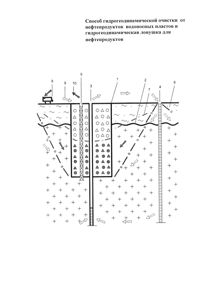 Способ гидрогеодинамической очистки от нефтепродуктов водоносных пластов и гидрогеодинамическая ловушка для нефтепродуктов