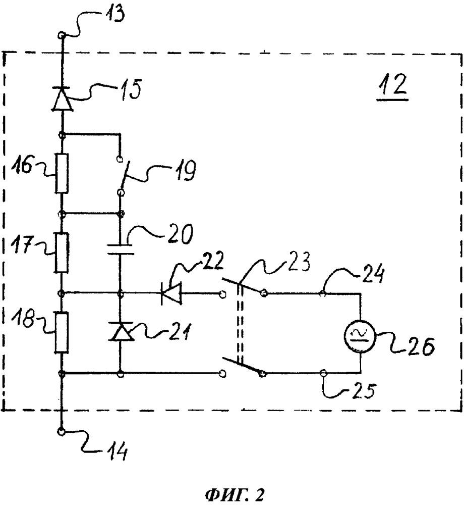 Способ для измерения сопротивления изоляции в незаземленной электрической сети постоянного тока и для локализации замыкания на землю и двухполюсное устройство ввода тока