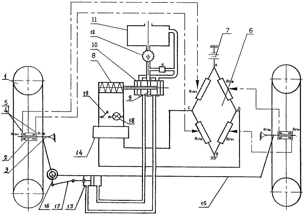 Устройство для непрерывного автоматического регулирования схождения управляемых колес транспортного средства в движении