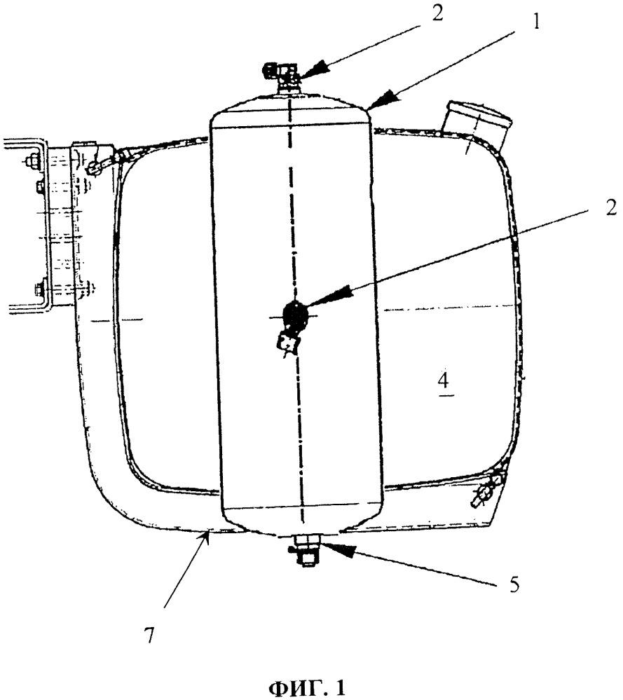Топливный бак транспортного средства, оснащенного пневматической системой